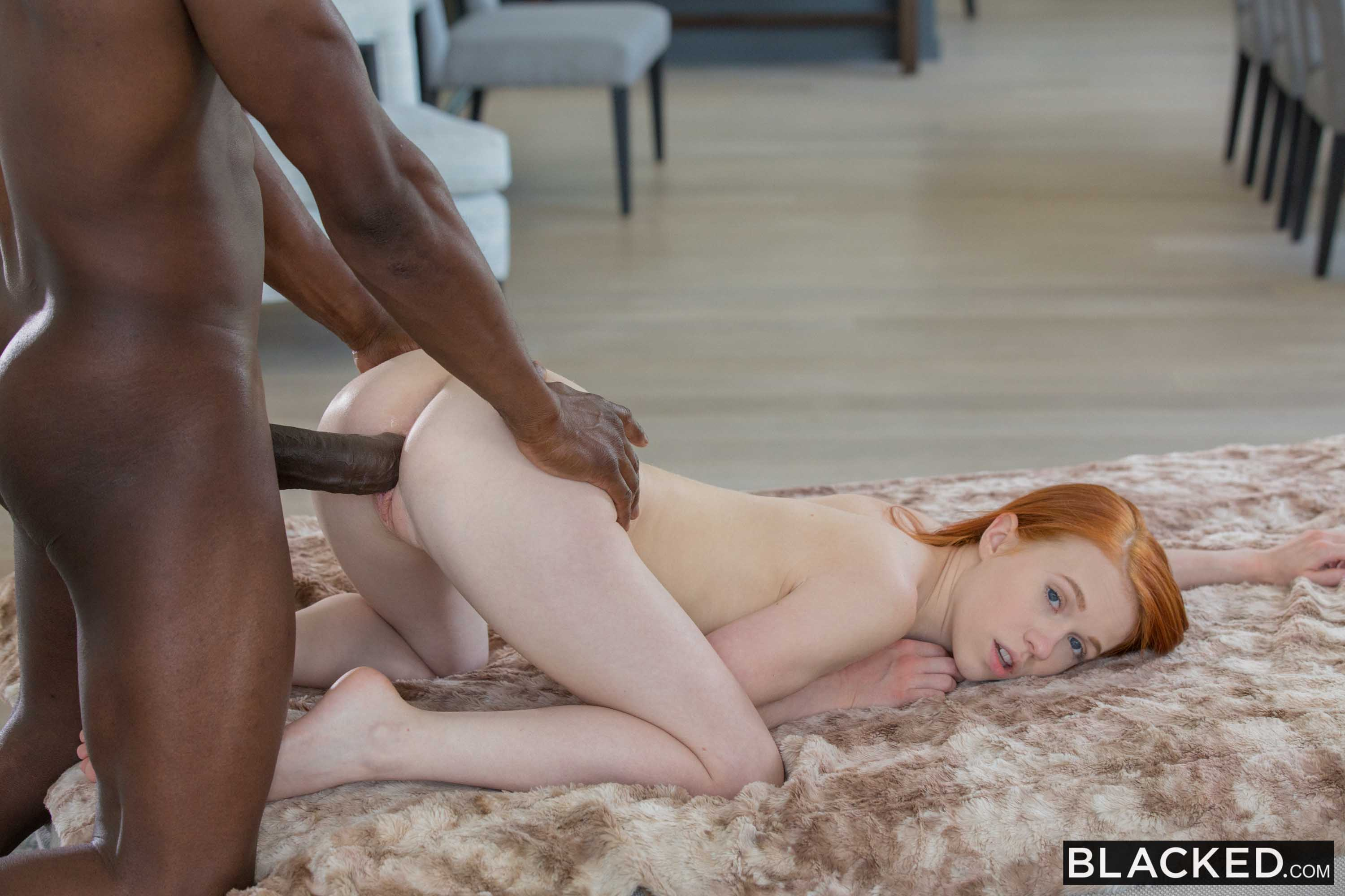 big black cock in tiny redhead